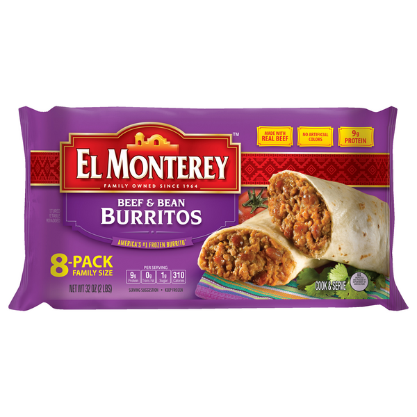 El Monterey Burritos Beef & Bean Family Pack - 8 ct