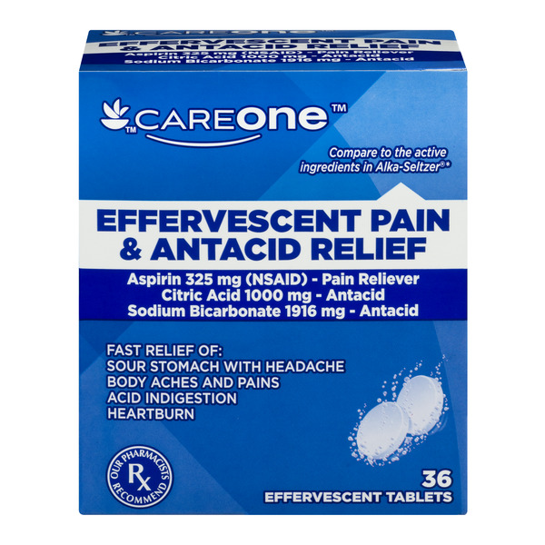 CareOne Effervescent Pain & Antacid Relief Tablets