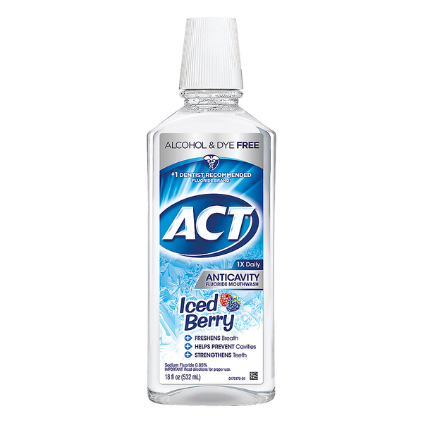 ACT Anticavity Fluoride Mouthwash Iced Berry Alcohol Free