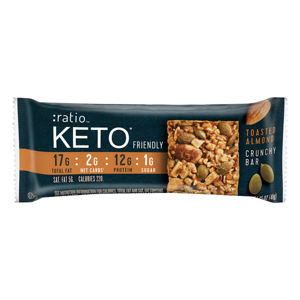 Ratio Keto Crunchy Bar Toasted Almond Gluten Free Low Carb