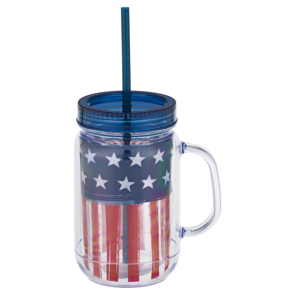 Smart Living Mason Jar Tumbler Patriotic US Flag 18 oz