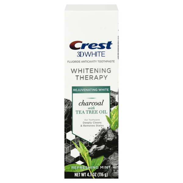 Crest 3D White Whitening Therapy Charcoal w/Tea Tree Oil Refreshing Mint