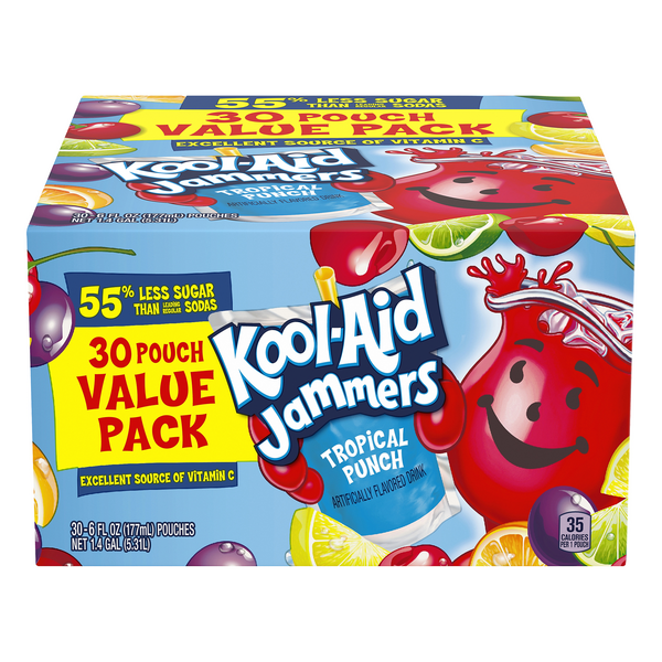 Kool-Aid Jammers Juice Pouches Tropical Punch Flavored - 30 pk