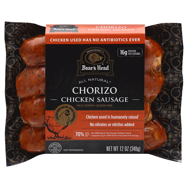 Boar's Head Chorizo Chicken Sausage Fully Cooked Gluten Free - 4 ct