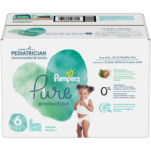 Pampers Pure Protection Diapers Size 6 35+ lbs