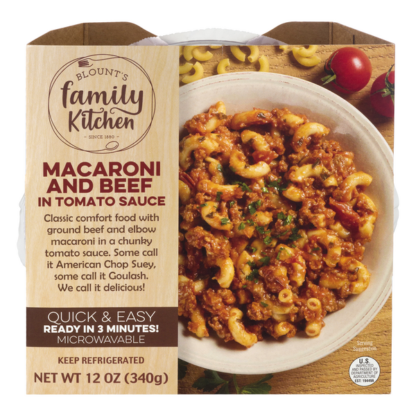 Blount's Family Kitchen Macaroni & Beef in Tomato Sauce