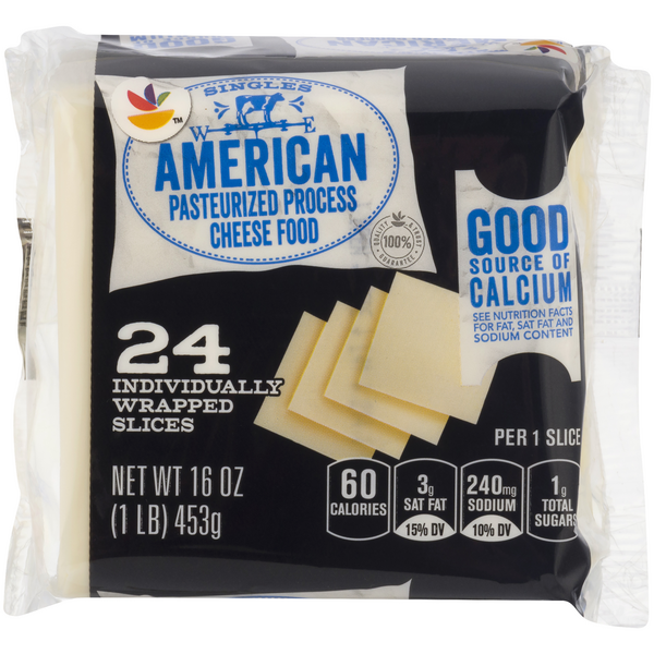 MARTIN'S American Cheese Food White Singles - 24 ct