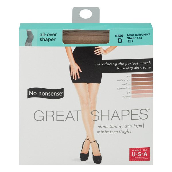 No Nonsense Great Shapes Pantyhose Beige Mist Size D