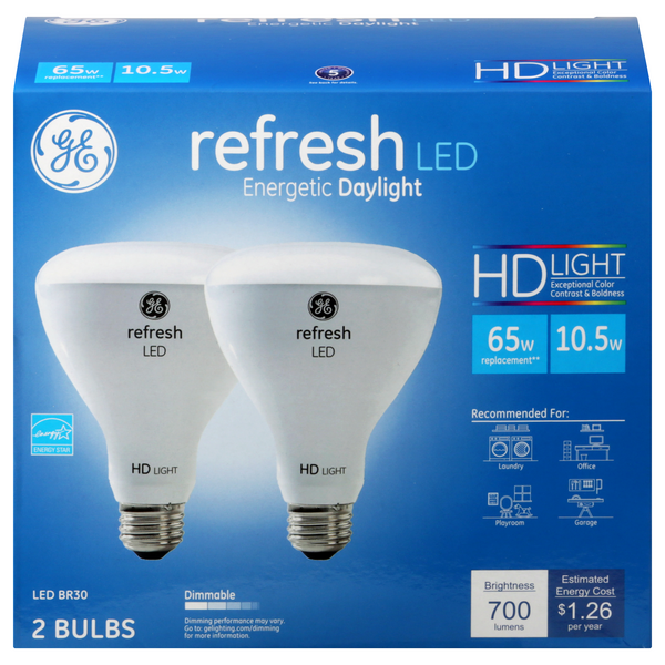 GE Refresh LED HD Light Bulbs Dimmable 65w Replacement