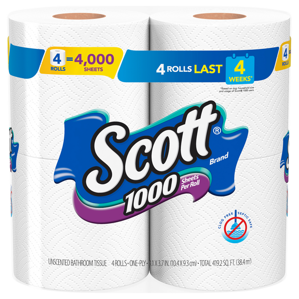 Scott Bathroom Tissue 1000 Sheets Per Roll 1-Ply Unscented