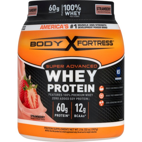 Body Fortress Whey Protein Powder Super Advanced Strawberry