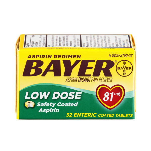 Bayer Low Dose Aspirin Regimen Pain Relief 81 mg Safety Coated Tablets