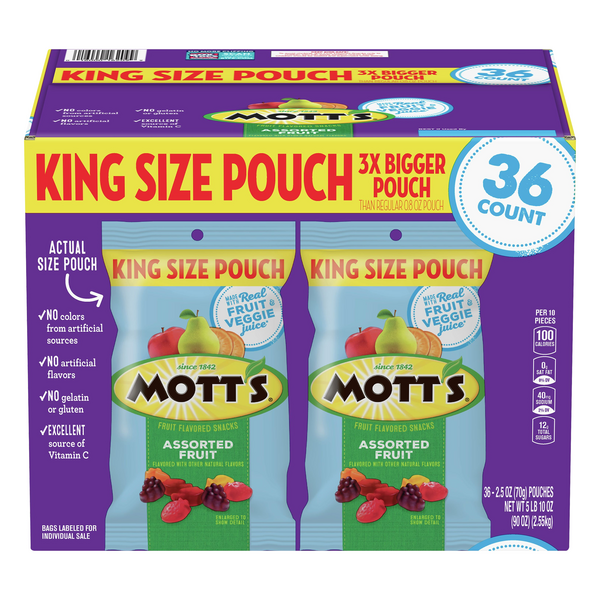 Mott's Assorted Fruit Flavored Snacks King Size Pouch - 36 ct