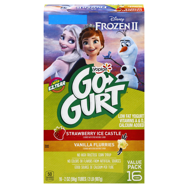 Yoplait Go-GURT Yogurt Disney Frozen Strawberry & Vanilla - 16 ct