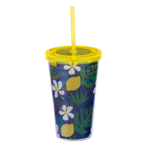 Smart Living Straw Tumbler Blue & Yellow 16 oz
