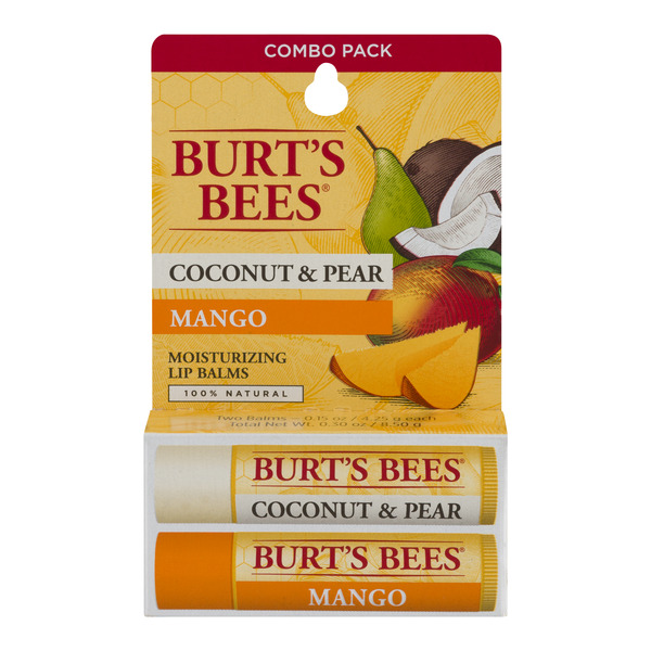 Burt's Bees Moisturizing Lip Balms Coconut & Pear/Mango - 2 CT