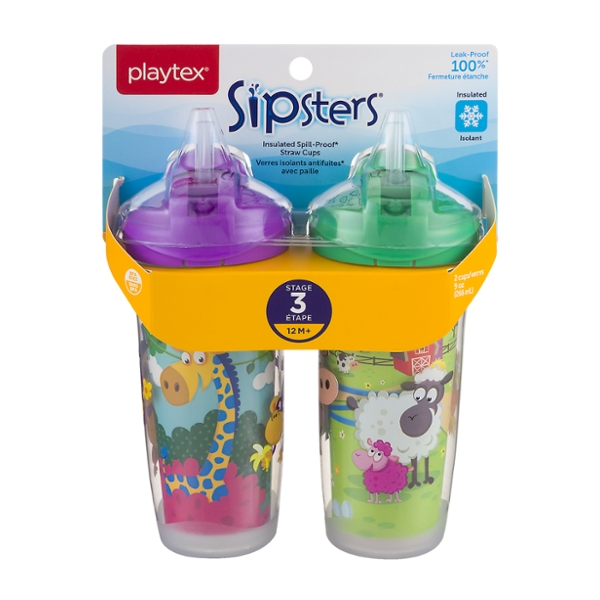 Playtex Sipsters Insulated Spill-Proof Straw Cups Stage 3