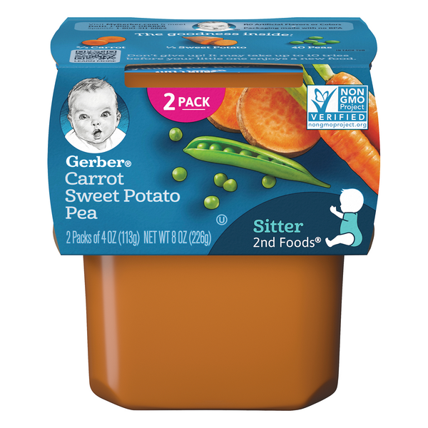 Gerber 2nd Baby Food Carrot Sweet Potato Pea - 2 ct