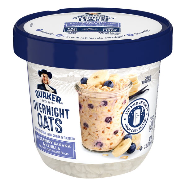 Quaker Overnight Oats Cereal Cup Blueberry Banana & Vanilla Bliss