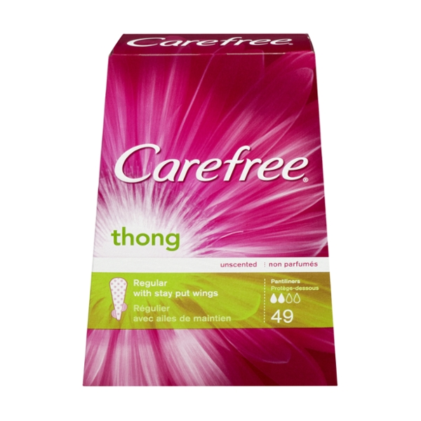 Carefree Thong Pantiliners Light Protection with Wings Regular Unscented