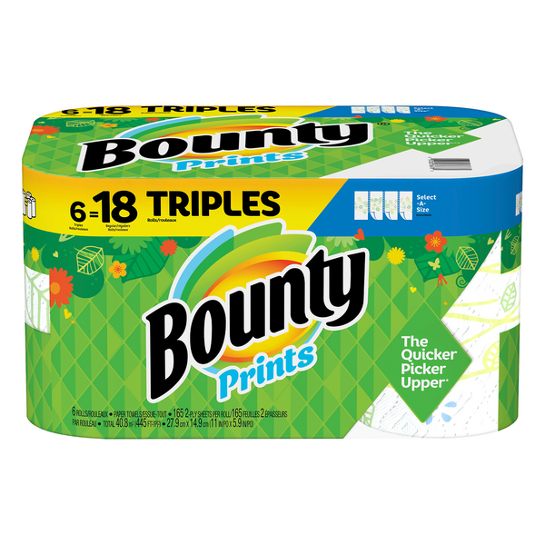 Bounty Select-A-Size Paper Towels Triple Roll 2-Ply Print