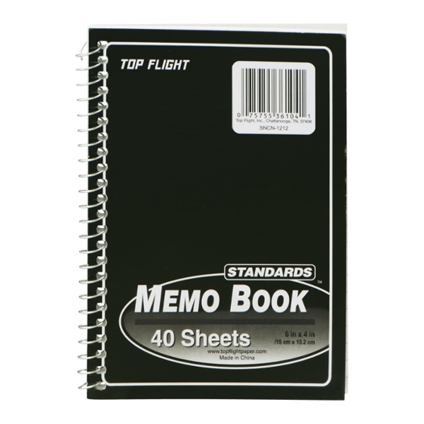 Top Flight Memo Book Side Wire Assorted Colors 4 X 6 Inch - 40 Sheets