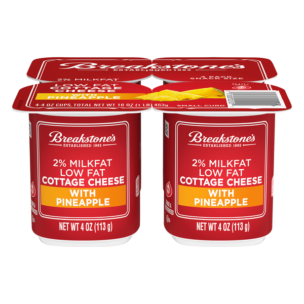 Breakstone's Cottage Cheese Low Fat 2% Milkfat with Pineapple - 4 ct