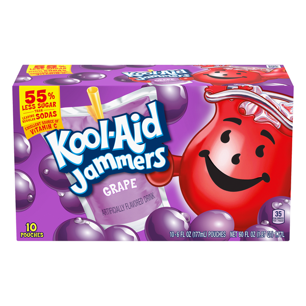Kool-Aid Jammers Juice Pouches Grape Flavored - 10 pk