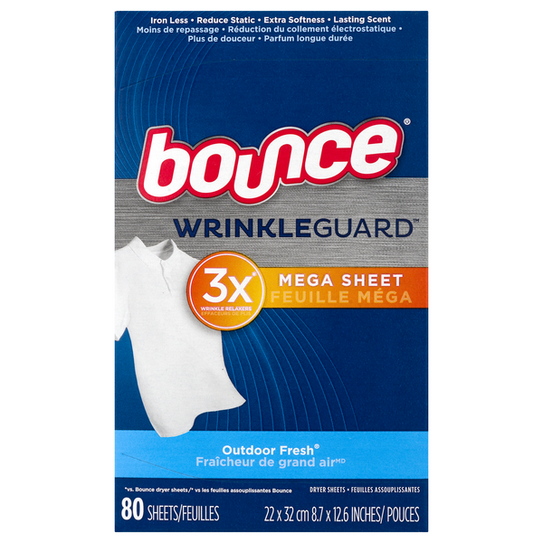 Bounce WrinkleGuard Mega Dryer Sheets Outdoor Fresh