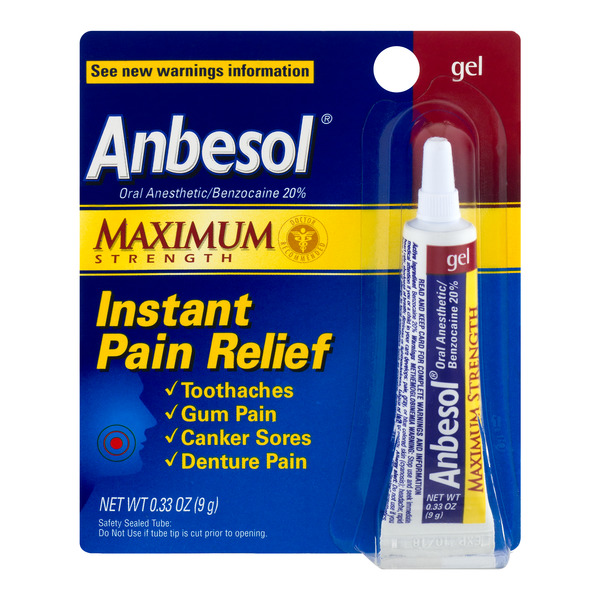 Anbesol Instant Toothache Pain Relief Gel Maximum Strength