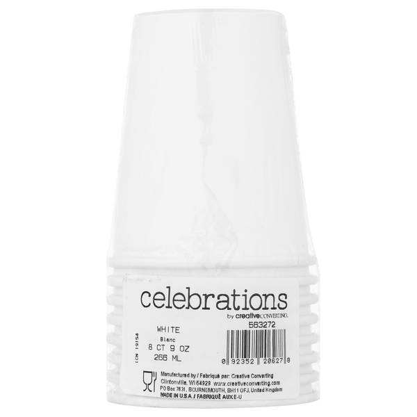 Creative Converting Celebrations Beverage Cups White 9 oz