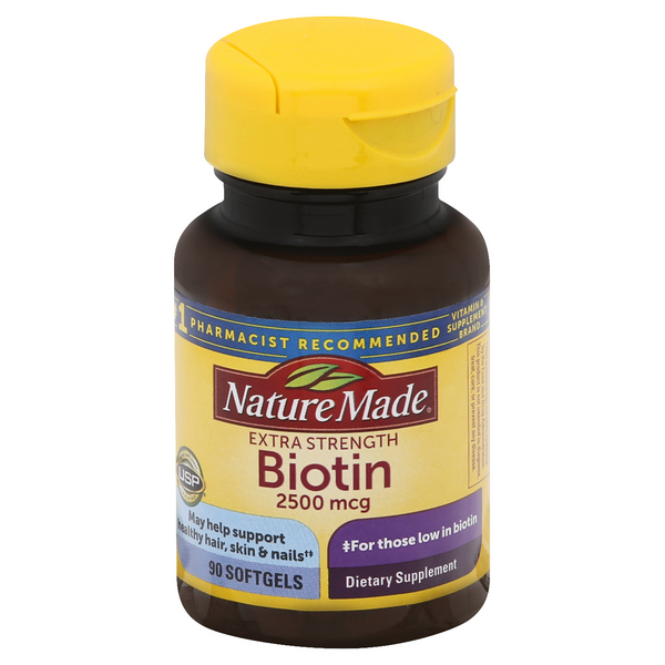 Nature Made Extra Strength Biotin 2500 mcg Dietary Supplement Softgels