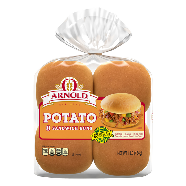 Arnold Hamburger Buns Country Potato - 8 ct