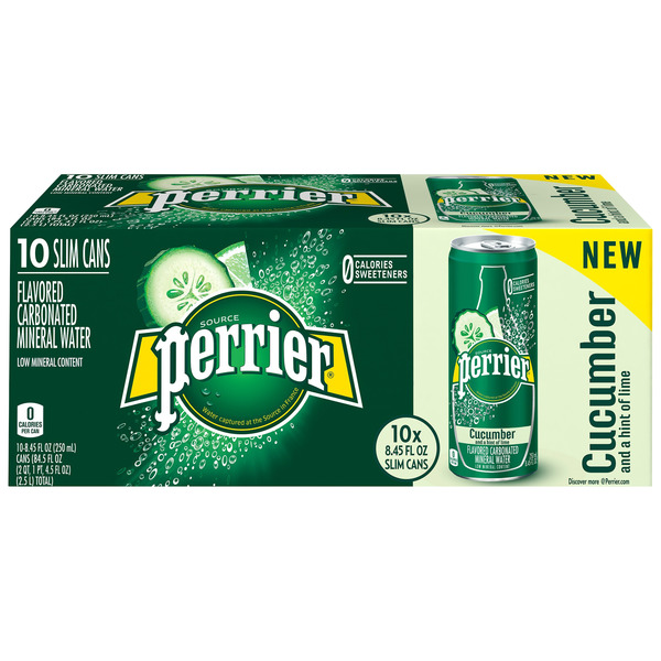 Perrier Sparkling Mineral Water Cucumber and a Hint of Lime - 10 pk