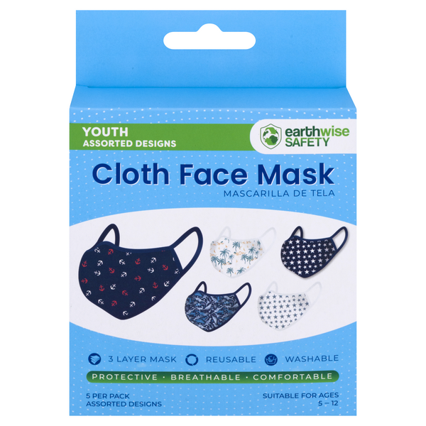 Earthwise Safety Youth Cloth Face Mask Assorted Designs