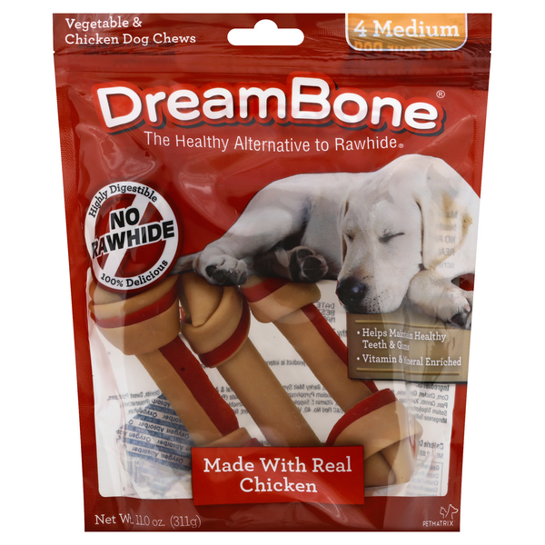 DreamBone Chews Vegetable & Chicken Medium (No Rawhide)