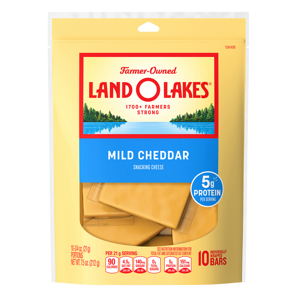 Land O'Lakes Cheddar Cheese Mild Individually Wrapped Bars - 10 ct