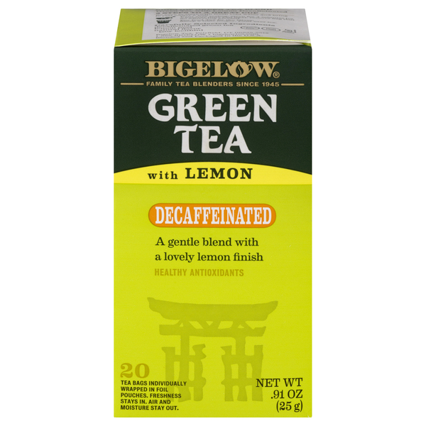 Bigelow Green Tea Bags with Lemon Decaffeinated