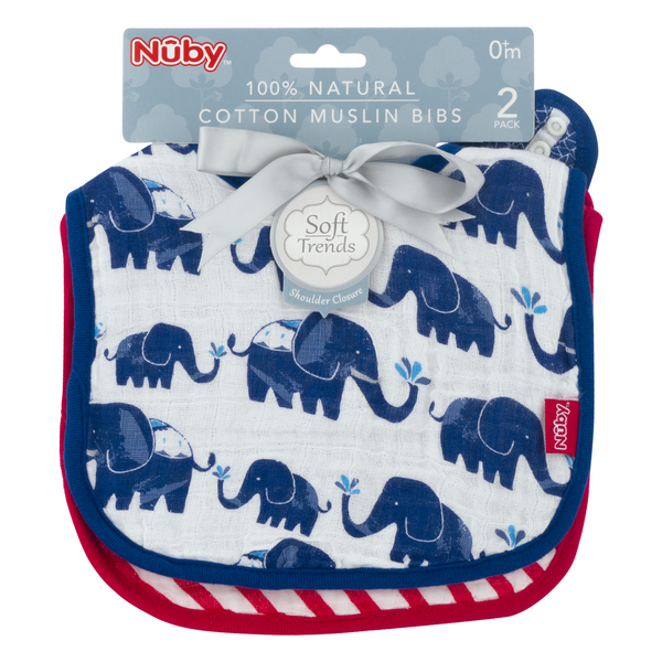 Nuby Cotton Muslin Bibs Elephant 100% Natural 0+m