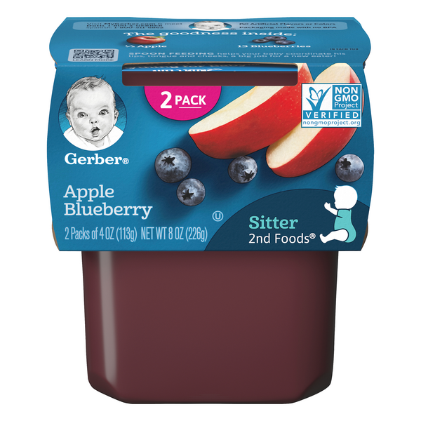 Gerber 2nd Baby Food Apple Blueberry - 2 ct