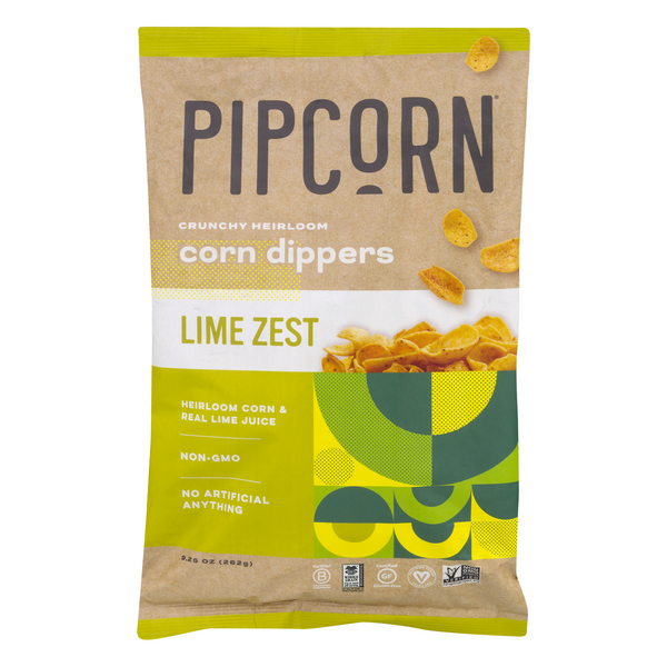 Pipcorn Crunchy Heirloom Corn Dippers Lime Zest