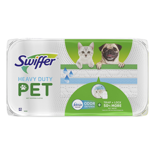 Swiffer Heavy Duty Pet Wet Mopping Cloth Refills with Febreze Odor Defense