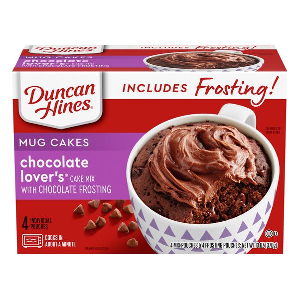 Duncan Hines Mug Cakes Chocolate Lover's with Chocolate Frosting - 4 ct