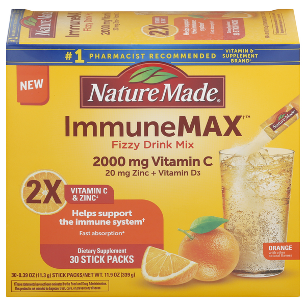 Nature Made Immune Max Fizzy Drink Mix 2000 mg Vitamin C Orange