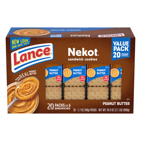 Lance Nekot Cookie Sandwiches Peanut Butter - 20 ct