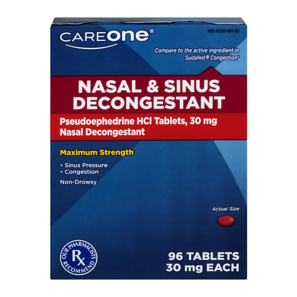 CareOne Nasal & Sinus Decongestant 36 mg Tablets