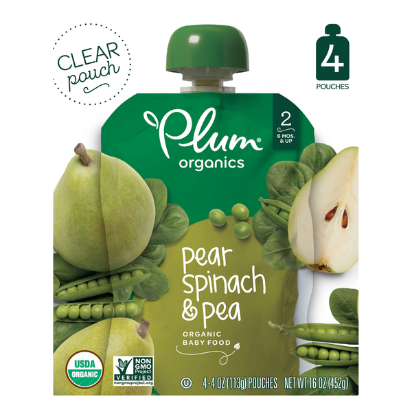 Plum Organics Stage 2 Baby Food Pear Spinach & Pea - 4 ct