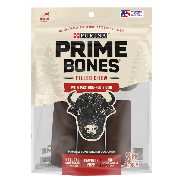 Purina Prime Bones Filled Chew with Pasture-Fed Bison - 3 pk