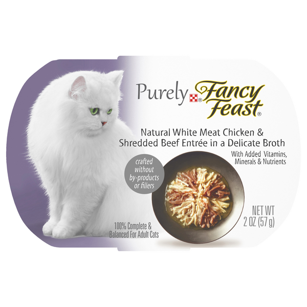 Purely Fancy Feast Adult Wet Cat Food Natural Chicken & Beef in Broth