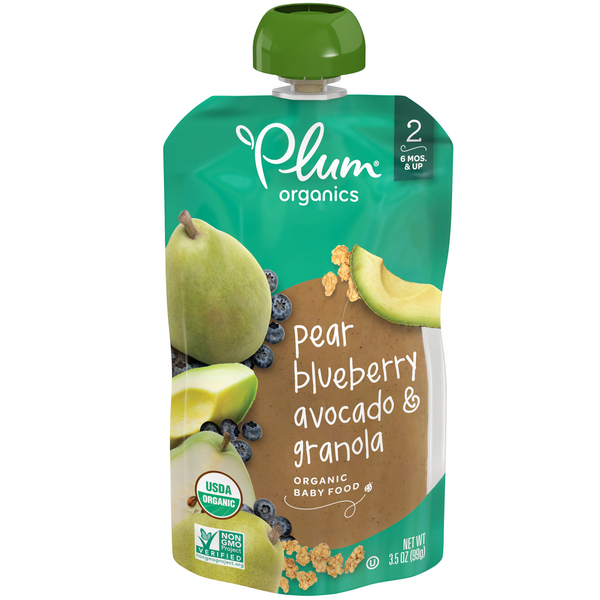 Plum Organics Stage 2 Baby Food Pear Blueberry Avocado & Granola